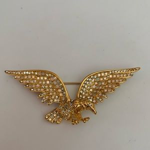 Vintage Trifari 1996 Gold Rhinestone Eagle Pin